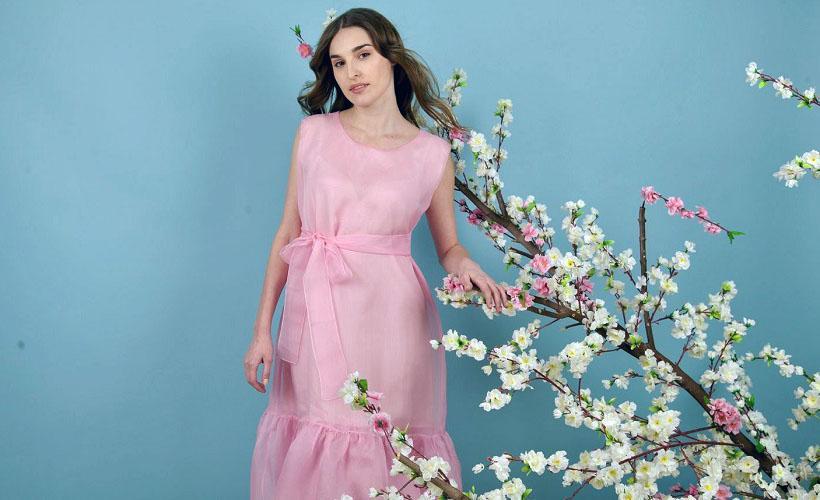 платье из газовой ткани