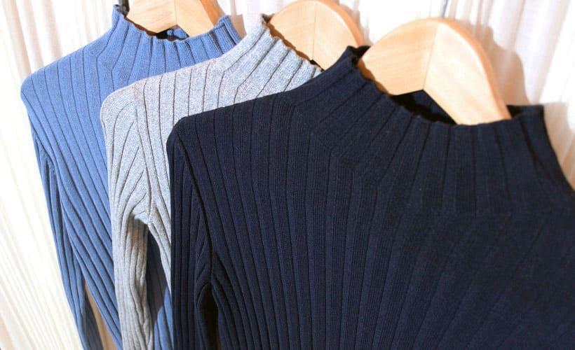 свитер из ткани в рубчик