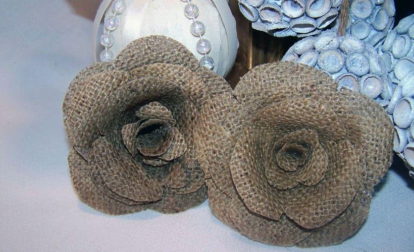 цветы для декора из дерюги