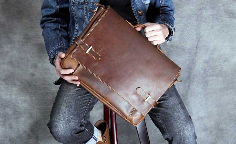 портфель из яловой кожи