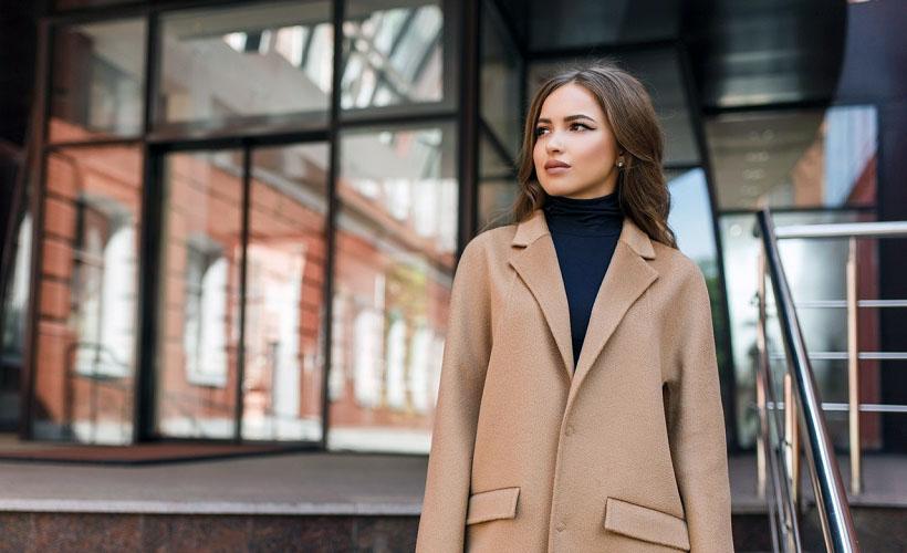 пальто из полушерстяной ткани