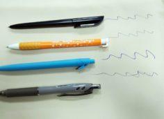 следы ручки на кожзаме