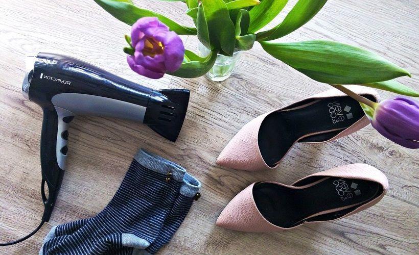 растягивание обуви феном